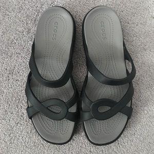 Gray Croc Sandals